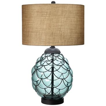 Pacific Collection Sea Blue Glass Table Lamp