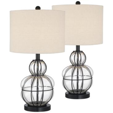 Eric Blown Glass Gourd Table Lamps Set of 2