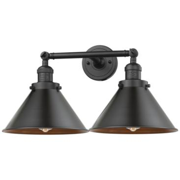 "Briarcliff 9""H Matte Black 2-Light Adjustable Wall Sconce"