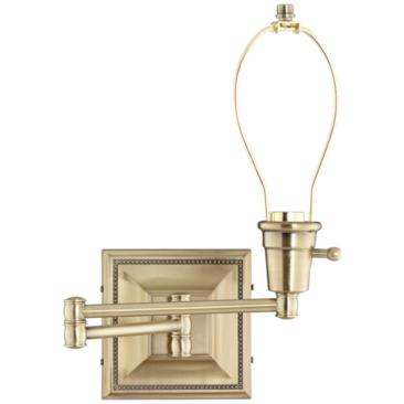 Brushed Brass Finish Plug-In Swing Arm Wall Lamp Base