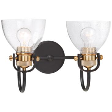 "Monico 10 1/2"" High Bronze and Brass 2-Light Wall Sconce"