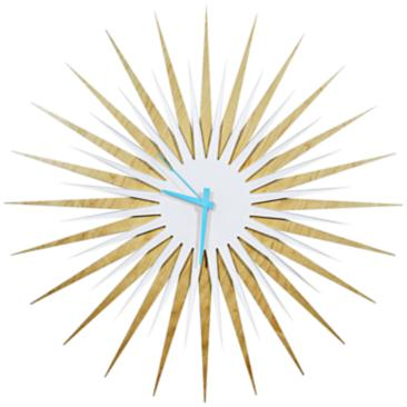 "Maple Wood and Blue 23"" Modern Starburst Wall Clock"