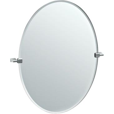 "Gatco Bleu Chrome 28 1/4"" x 32"" Oval Vanity Mirror"