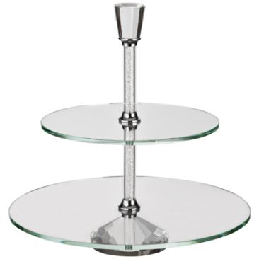 "Tulia Crystal 12 3/4"" High 2-Tiered Cake Stand"