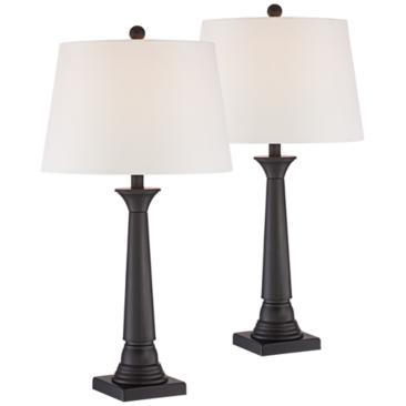 Dolbey Bronze Tapered Column Table Lamp Set of 2