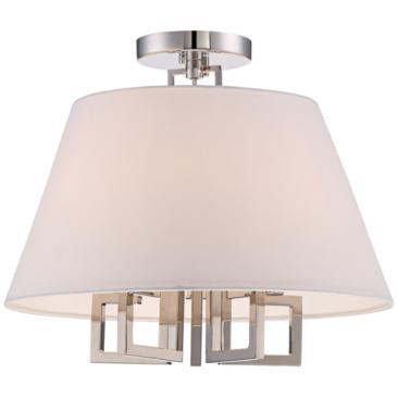 "Crystorama Westwood 16"" Wide 5-Light Nickel Ceiling Light"