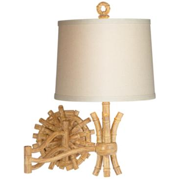 "Elegant Bamboo 11"" Wide Plug-In Swing Arm Wall Lamp"
