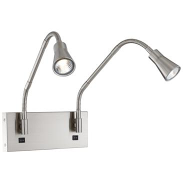 Irina Brushed Nickel 2-Light LED Headboard Mounted Wall Lamp
