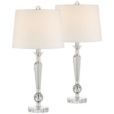 Jolie Tapered Candlestick Crystal Table Lamp Set of 2