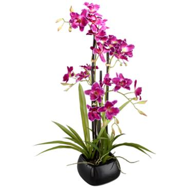 "Purple Cattleya 23"" High Silk Potted Plant"