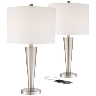 Geoff Brushed Nickel USB Table Lamp Set of 2
