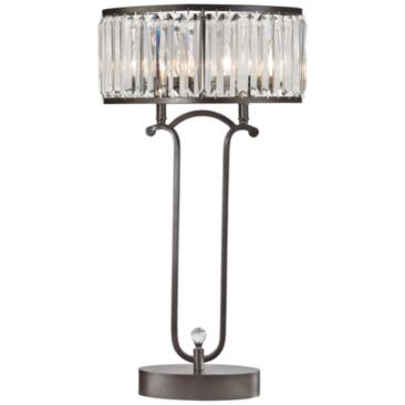 Rudolfo Bronze and Crystal Prism Table Lamp