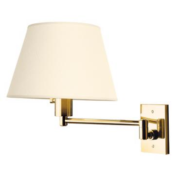 Urban Boulevard Series Polished Brass Hard-Wire Swing Arm