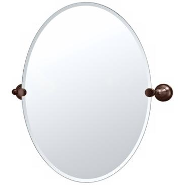 "Gatco Tiara Oiled Bronze 24"" x 26 1/2"" Frameless Oval Mirror"