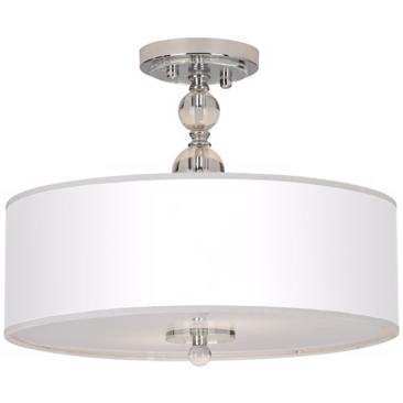 "White Drum Shade 16"" Wide Semi-Flush Ceiling Light"