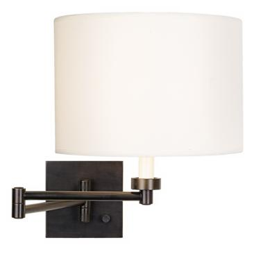 White Shade Dark Bronze Plug-In Swing Arm Wall Light