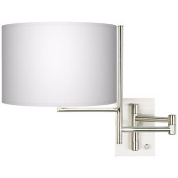 White Shade Brushed Steel Plug-In Swing Arm Wall Light