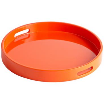 Estelle Orange Small Round Wood Tray
