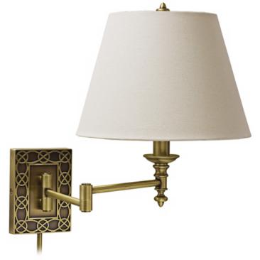 House of Troy Wall Knot Brass Plug-In Swing Arm Wall Lamp