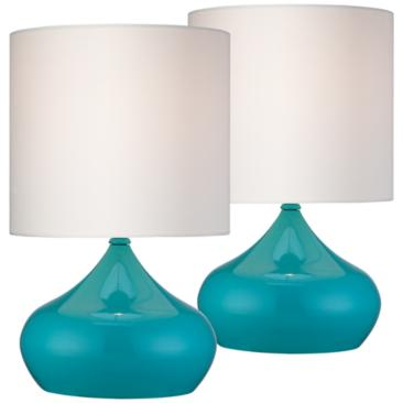 "Steel Droplet 14 3/4""H Teal Blue Small Accent Lamps Set of 2"