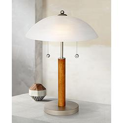 "Orbital 19 1/2"" High Brushed Nickel and Wood Table Lamp"