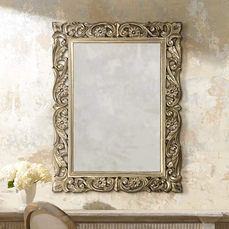 "Howard Elliott Chateau 31 1/2"" x 42"" Pewter Wall Mirror"