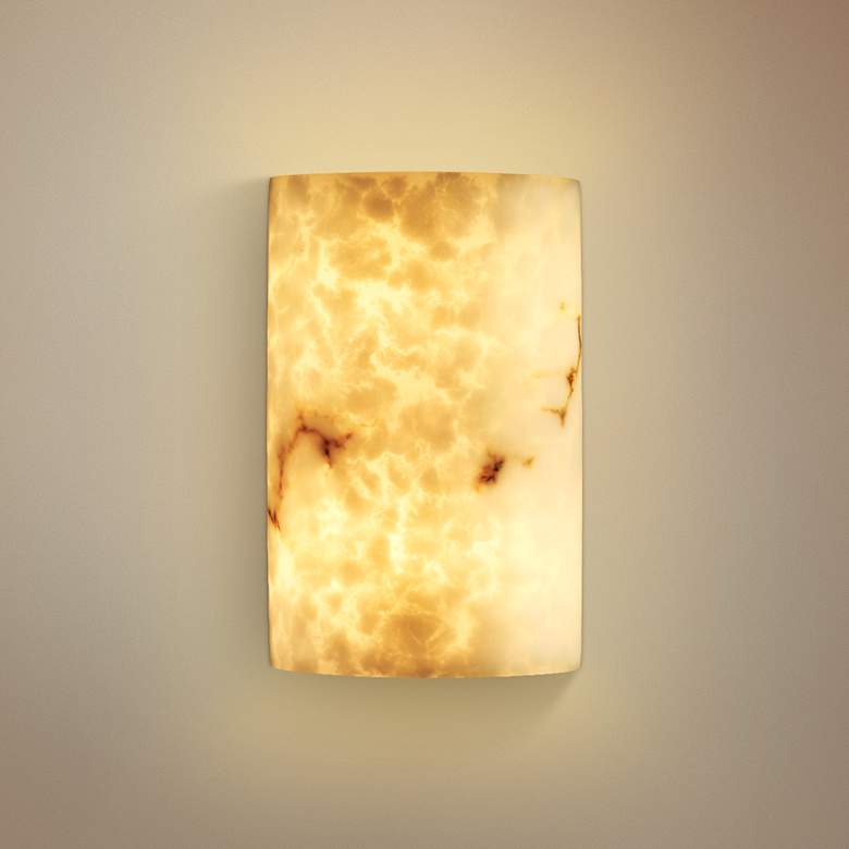 "Large Cylinder Faux Alabaster 12 1/2"" High Wall Sconce"