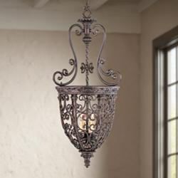"French Scroll 15 1/4"" Wide Three Light Iron Foyer Chandelier"