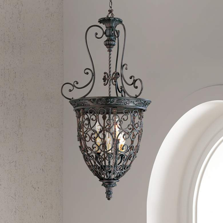 "French Scroll 22 1/2""W 9-Light Bronze Iron Foyer"