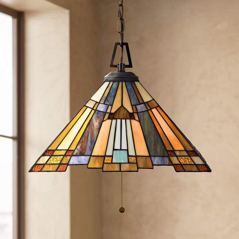 "Inglenook 17"" Wide Tiffany Style Art Glass Pendant Light"