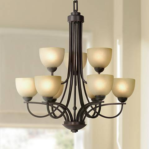 Franklin Iron Works Bennington Collection 9-Light Chandelier