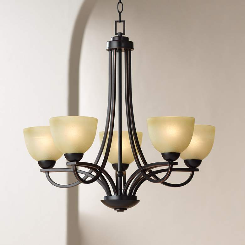 "Bennington 26"" Wide 5-Light Italian Bronze Chandelier"