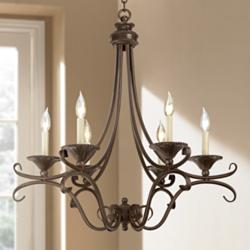 "Cottage Bronze and Copper 27 1/2"" Wide Six Light Chandelier"