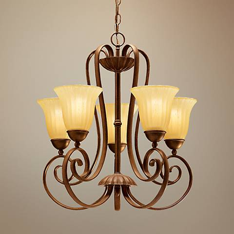 Distressed Umber Five Light Dinette Chandelier