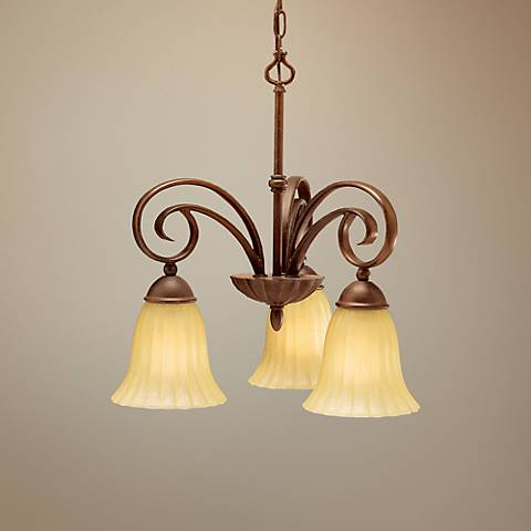"Scroll Umber 19""W Three Light Small Chandelier by Kichler"