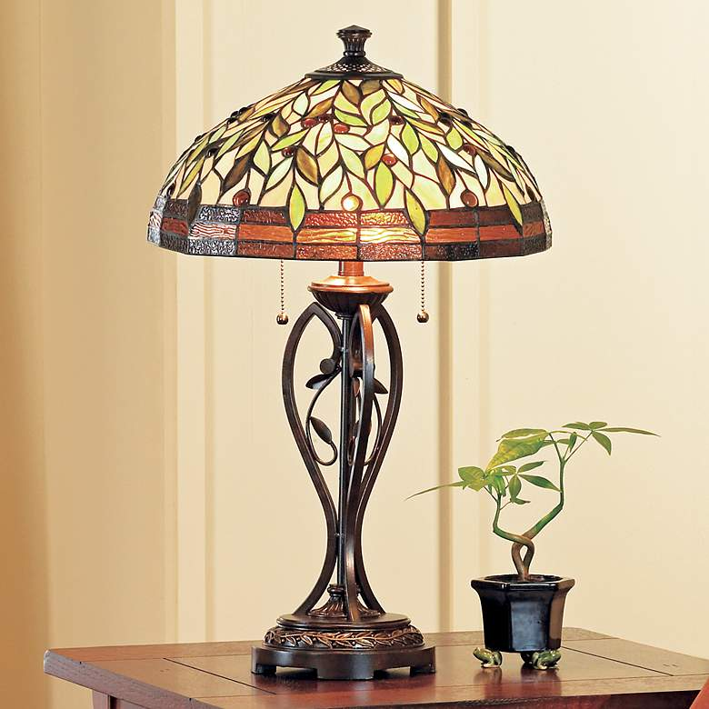 Blossoming Leaf and Vine Tiffany Table Lamp