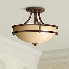 Iron semi flush mount close to ceiling lights lamps plus canada oak valley collection 18 wide scavo glass ceiling light aloadofball Gallery