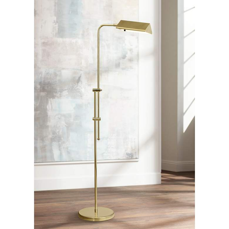 Dolan Brass Finish Adjustable Pharmacy Floor Lamp