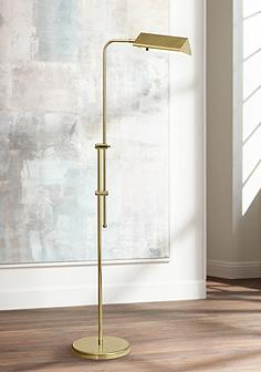 Traditional task reading floor lamps lamps plus brass finish pharmacy floor lamp aloadofball Choice Image