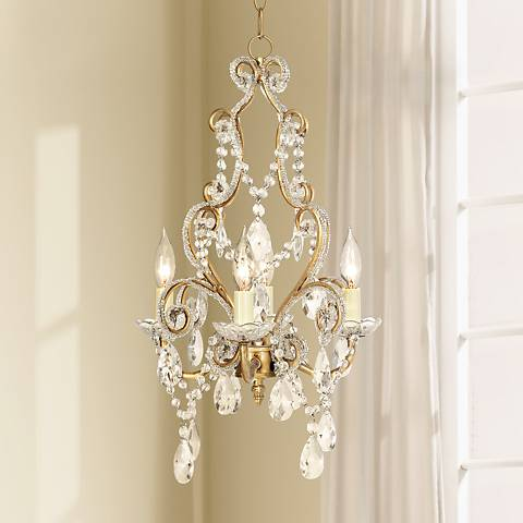 Antique Gold with Clear Beads Swag Plug-In Chandelier