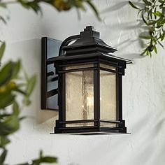 Mission style outdoor wall lights lamps plus franklin iron works hickory point 12 mozeypictures Images