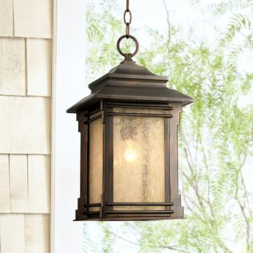 "Hickory Point 19 1/4"" High Bronze Outdoor Hanging Light"