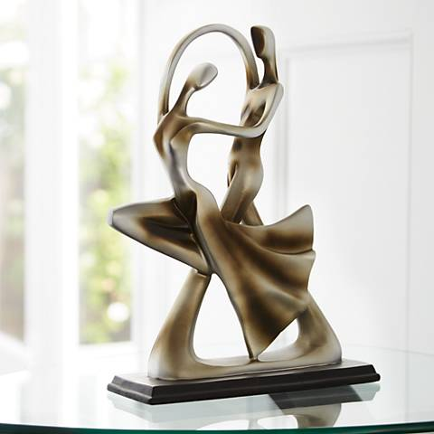 "Silver Abstract 14 3/4"" High Dancing Couple Sculpture"