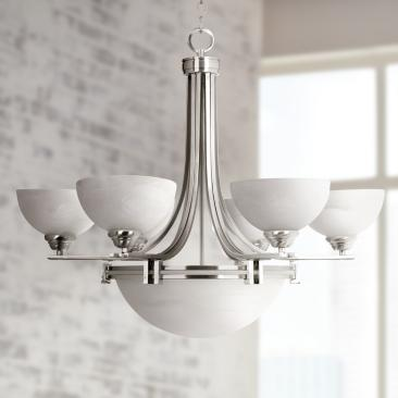 Possini Euro 31 3/4 Wide Deco Nickel 8-Light Chandelier