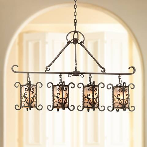 "Natural Mica Collection 42"" Wide Linear Island Chandelier"