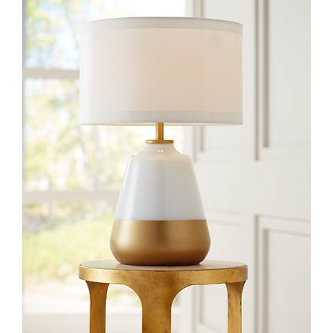 Possini Euro Alain White-Gold Glass Table Lamp