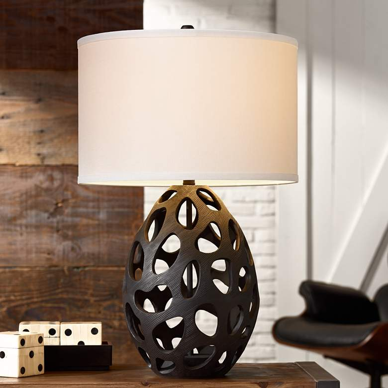 Luna Matte Black Openwork Table Lamp