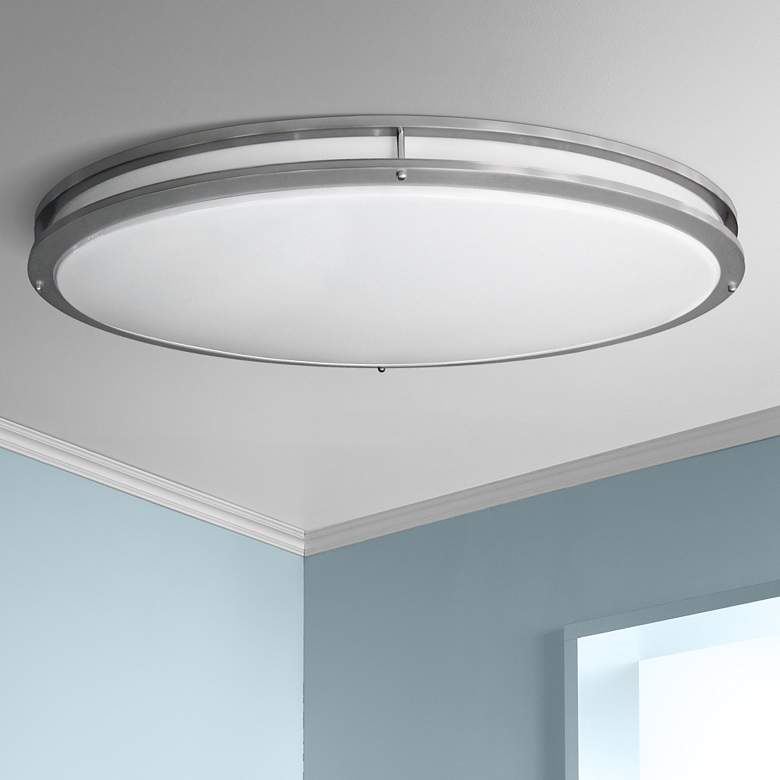 "Nickel Oval 32 1/2"" Wide 4707 Lumen LED Ceiling Light"