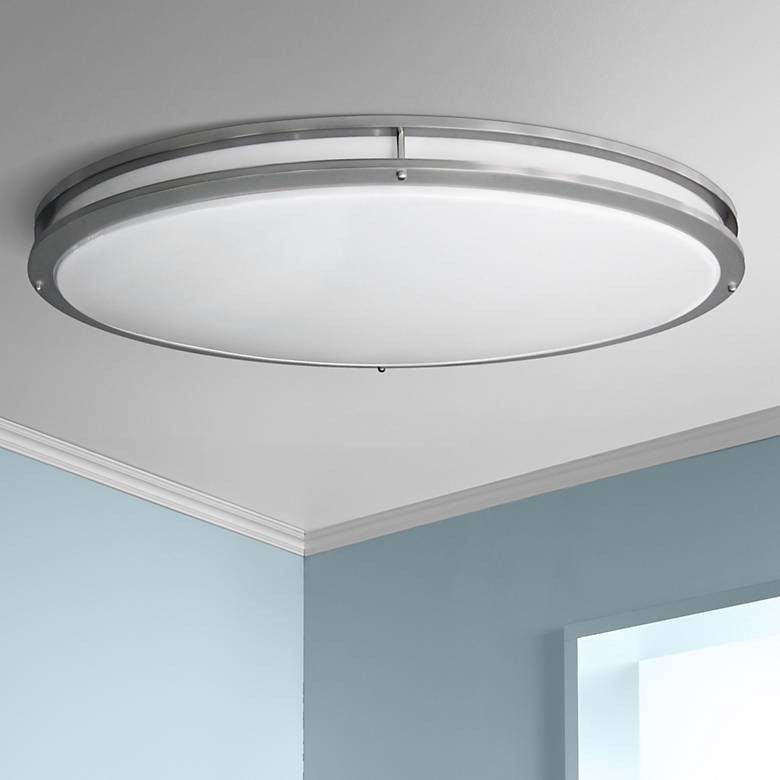 "Nickel Oval 32 1/2"" Wide 4704 Lumen LED Ceiling Light"
