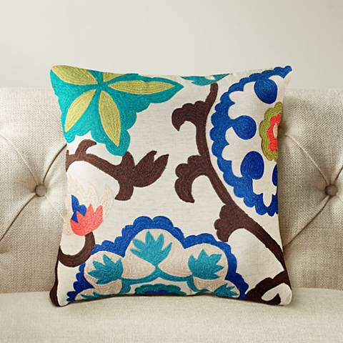 "Janelle Floral Multi-Color Blue 18"" Square Throw Pillow"